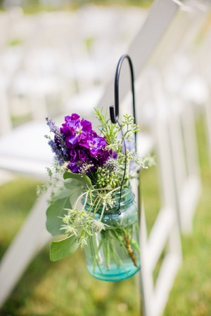 Wildflowers in Mason Jar Ceremony Chair Decor