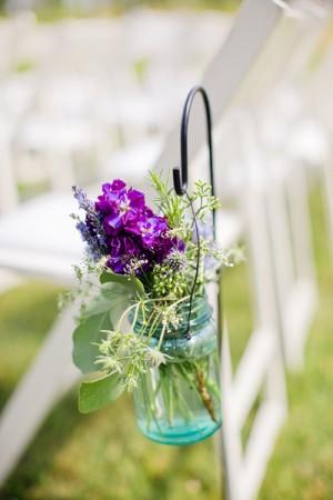 Wildflowers in Mason Jar Ceremony Chair Decor