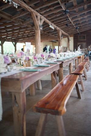 Wood Farmhouse Table Wedding Reception