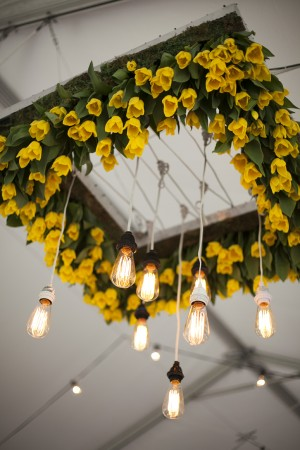 Yellow Tulip Chandeliers with Lights