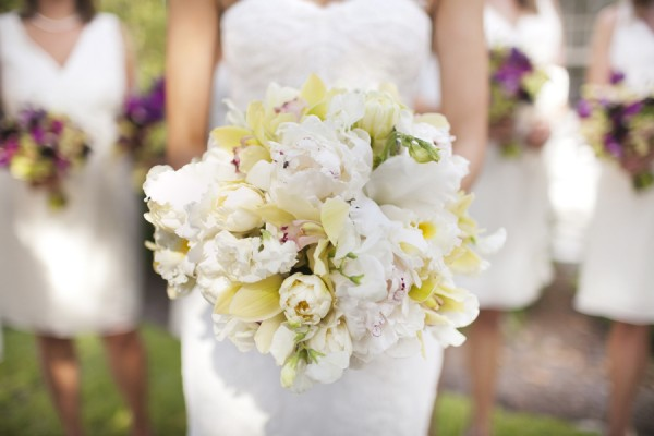 Yellow and White Tulip and Rose Bouquet