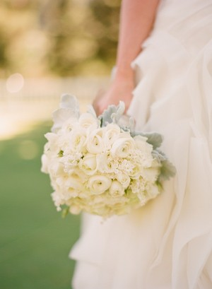 All White Bridal Bouquet With Gray Greenery 1