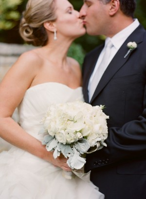 All White Bridal Bouquet With Gray Greenery