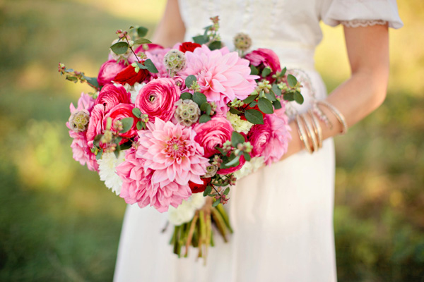 Berry Pink and Red Wedding Bouquet