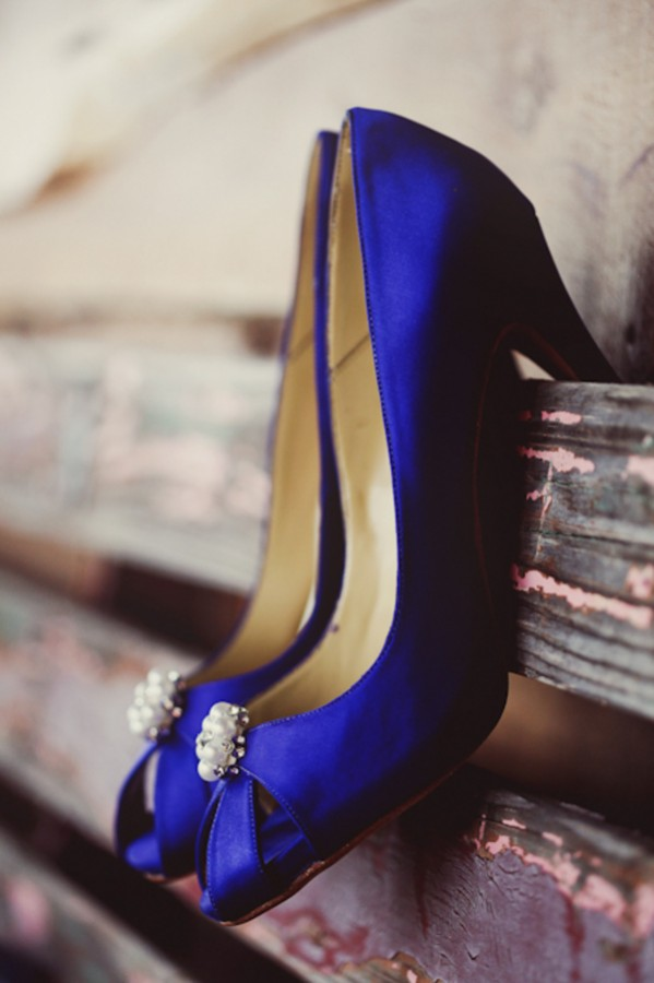 Blue Satin Bridal Shoes With Pearl Accents