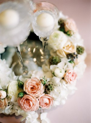 Blush and Cream Rose Centerpiece With Candles
