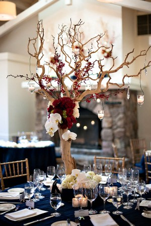 Branch Orchid and Rose Reception Table Centerpiece