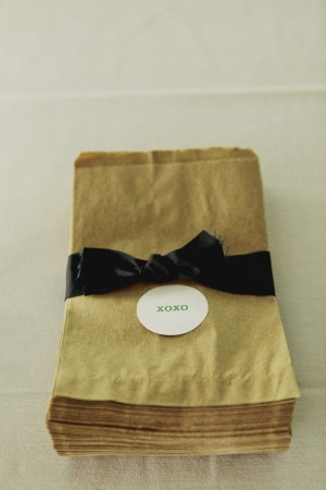 Brown Paper Favor Bags With Black Ribbon