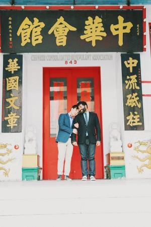 Chinatown Doorway Engagement Shoot