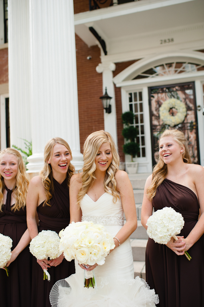 Chocolate colored bridesmaids dresses