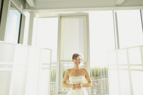 Classic Strapless Wedding Gown With Short Fishnet Veil 3