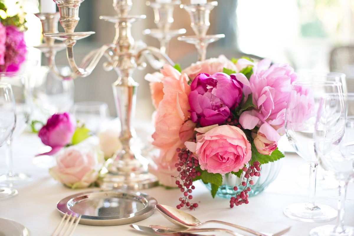 Clustered Pink Purple And Peach Rose And Peony Centerpiece