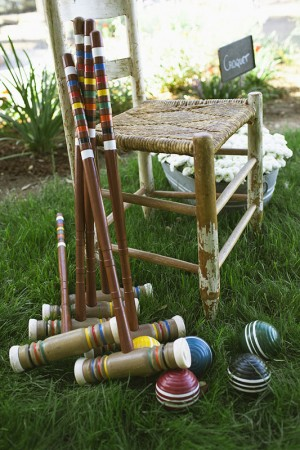 Croquet Set on Lawn at Outdoor Reception