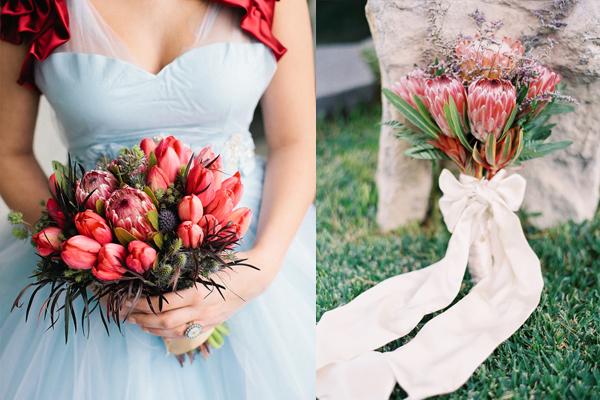 Deep Red Protea Wedding Flowers