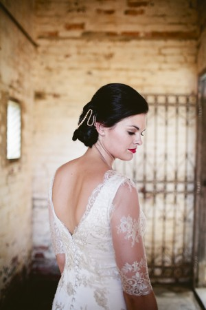 Deep V Wedding Gown With Lace Sleeves 4
