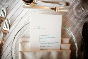 Elegant Blue and White Menu