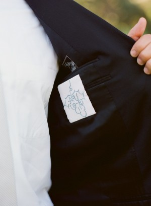 Embroidered Wedding Date on Groom Suit