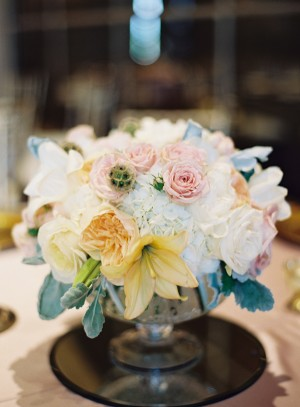 English Garden Style Centerpiece in Footed Bowl