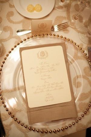 Engraved Calligraphy Wedding Menu