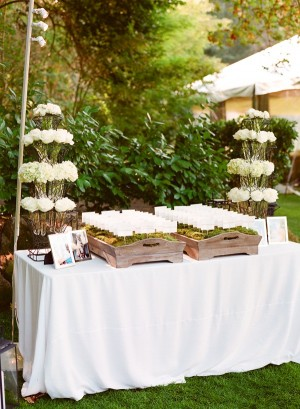 Escort Cards In Moss Container
