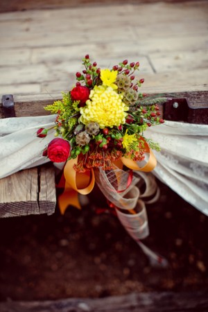 Fall Bouquet Detail Tied With Orange Ribbon and Lace Sash