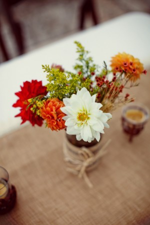 Fall Flowers in Burlap Wrapped Vase