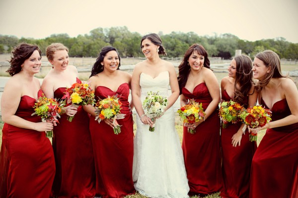 Floor Length Red Bridesmaids Dresses