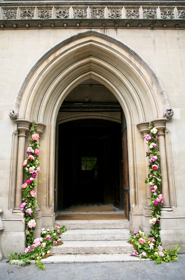Floral and Greenery Garlands on Cathedral Door
