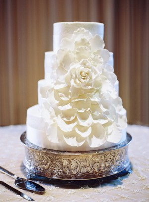 Four Tier Round Wedding Cake With Cascading Flower