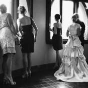 Gathered Train Wedding Dress