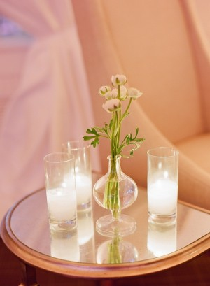 Glass Vase and Candle Reception Table Detail