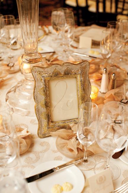 Gold Calligraphy Table Number in Vintage Frame - Elizabeth Anne ...