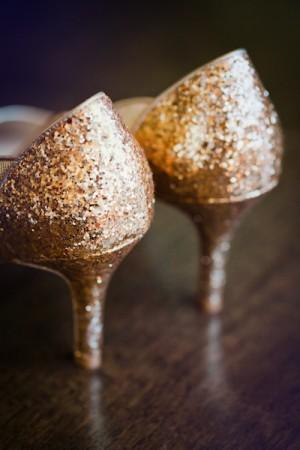 Gold Glitter Bridal Shoes