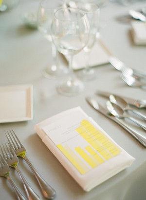 Gray and Yellow Reception Menu Card