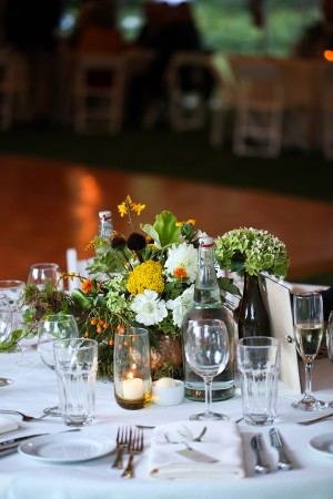 Green White and Yellow Wedding Centerpiece1