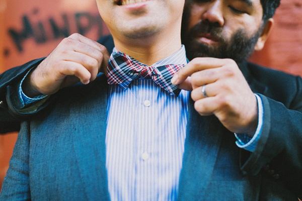 Groom Plaid Bow Tie