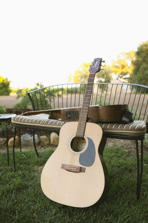Guitars on Outdoor Metal Bench