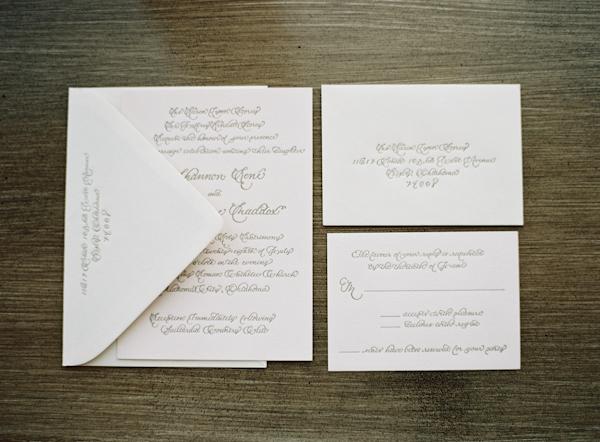 Intricate Calligraphy Wedding Invitation