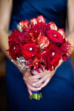 Jewel Tone Bouquet With Navy Ribbon Wrap