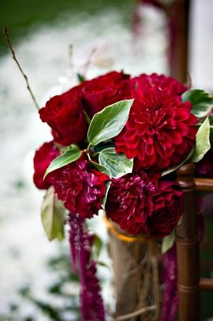 Jewel Tone Floral Aisle Decor