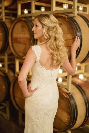 Lace Column Wedding Gown With Cap Sleeves