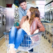 Laundromat Engagement Photo 2