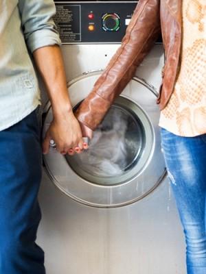 Laundromat Engagement Photo 4