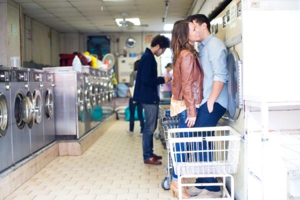 Laundromat Engagement Photo