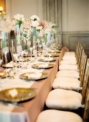 Long Reception Table With Gold Bamboo Chairs