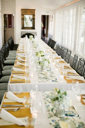 Long Reception Tables With Flower Runners