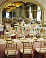 Long Reception Tables With Gold Bamboo Chairs