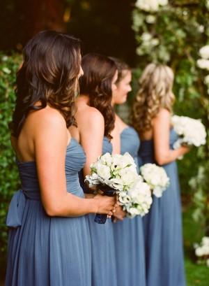 Long Strapless Blue Chiffon Bridesmaids Dresses 1