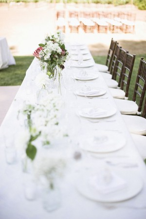 Long White Outdoor Reception Table With Bamboo Chairs