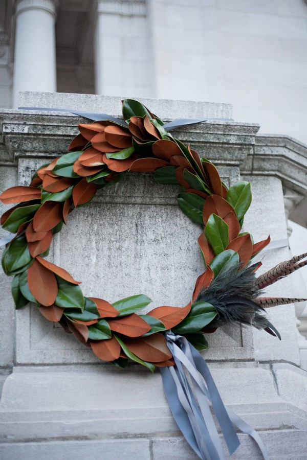 Magnolia Leaves Wreath With Feathers